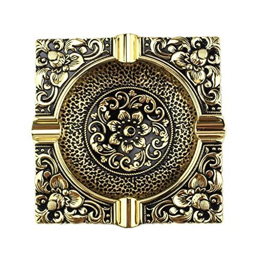 FOLA Cenicero de metal vintage en relieve cenicero decorativo Ceniceros para fumadores de escritorio para fumadores y oficina en casa (color: dorado)