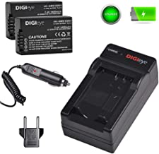 DIGIeye DMW-BMB9 DMW-BMB9E Battery (2 Pack) and Charger Set with Car Adapter for Panasonic Lumix DMC-FZ40 FZ45 FZ47 FZ48 FZ60 FZ62 FZ70 FZ72 FZ80 FZ100 FZ150 Leica V-Lux2 V-Lux3