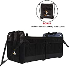 Tuff Viking 2-in-1 Convertible Collapsible Trunk Organizer for Car, SUV, Truck, Auto, Minivan, Jeep and Groceries with Tie Down Straps