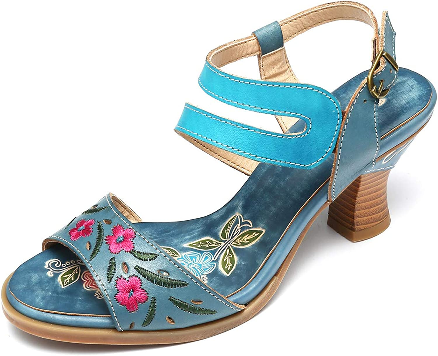 Gracosy Women's Leather Sandals, Mid Heel Pumps Summer Heeled Sandal Buckle Handmade Embroidery Pattern Slippers