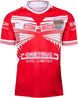 半袖 メンズユースラグビーシャツ2019-2020トンガホームラグビージャージスポーツウェア速乾性Tシャツファミリーサッカージャージ大人の子供競技トレーニング服