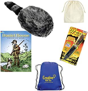 Daniel Boone Kentuckian Frontiersman Fun History Costume with Kids Coonskin Hat, Toy Knife, Drawstring Bag, and Coloring Book