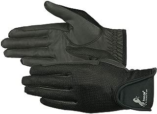 Horze Women's Black Leather Mesh Gloves