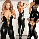 Marcus R Caveggf Sexy Encaje Transparente Hollow out Fuax Body de Cuero Erotic Lace-up Teddy Lingerie Mujeres Nightclub Jumpsuits Latex Catsuit