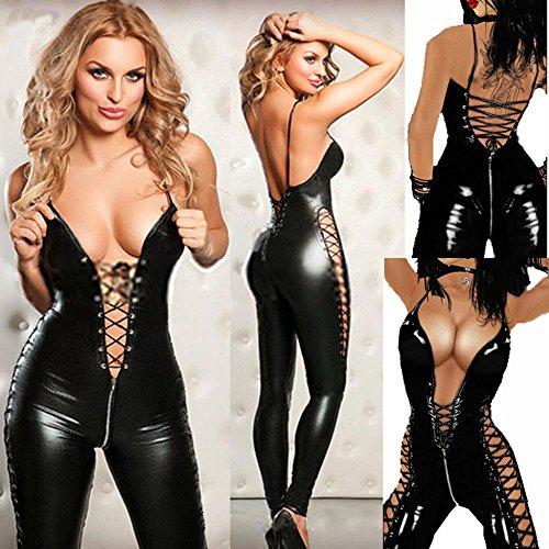 Marcus R Caveggf Sexy Encaje Transparente Hollow out Fuax Body de Cuero Erotic Lace-up Teddy Lingerie Mujeres Nightclub Jumpsuits Latex Catsuit (Varios)