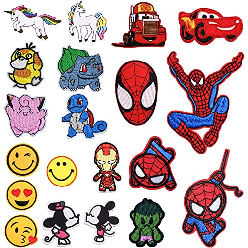 20 piezas Parches Ropa Termoadhesivos con Superhéroe Unicornio Smiley Pokemon Bus DIY Coser o Planchar en Los Parches Apliques para Ropa Camiseta Jeans Sombrero Pantalon Bolsas