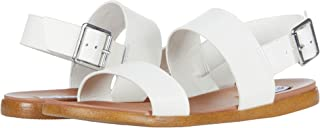 Steve Madden Women's Flat Sandal, White Leather, 8.5