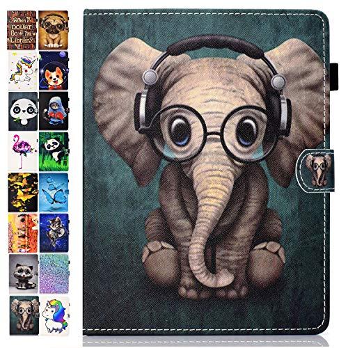 Ancase Universal 9.5-10.5 Zoll Tablet Hülle kompatibel für Tablette 9.6 9.7 10.1 Zoll Samsung Huawei Apple Lenovo Hülle Leder Tasche Schutzhülle Flip Cover - Elefant