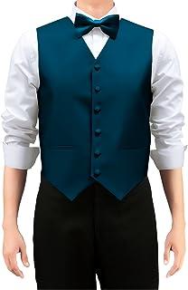 Retreez Men's Solid Color Woven Waistcoat with Tie, Bow Tie 3 Pieces Gift Set
