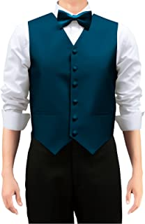 Retreez Men's Solid Color Woven Vest with Tie, Bow Tie 3 Pieces Gift Set