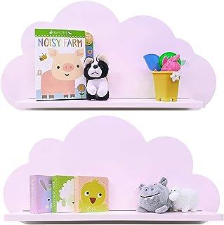 Estantes en la nube disponibles en blanco, rosa, azul o gris para niños, bebés, guarderías y dormitorios (2 estantes) estante flotante - ROSA