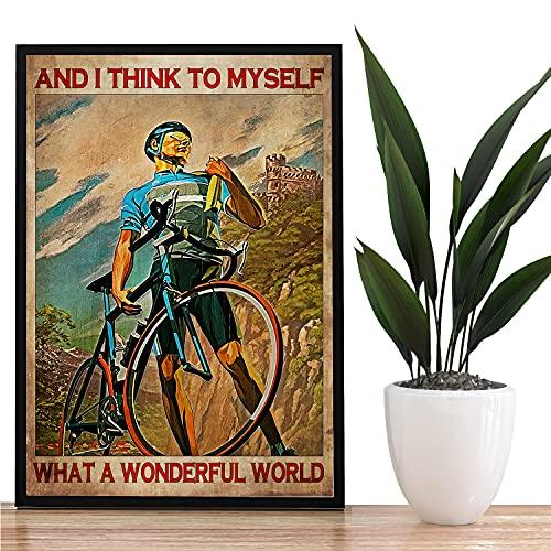 Geography - Poster su tela, motivo: ciclista con scritta 'Win Yourself', poster vintage su tela da ciclismo, poster da corsa, bici da corsa, foto per la casa, senza cornice, 40,6 x 61 cm