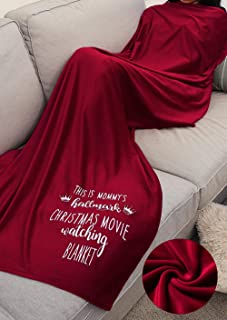 Gowone Women This is Mommy's Hallmark Christmas Movie Watching Blanket Home Fleece Blanket Red Throw Blanket for Couch Bed Soft Microfiber Fuzzy Flannel Blanket for Holiday (Red, 55Wx59L)
