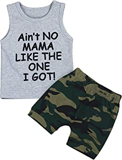 Mailza Baby Boy Clothes Funny Letter Printed Vest and Camouflage Shorts Summer Outfit Set