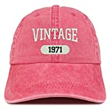 Trendy Apparel Shop Vintage 1971 Embroidered 50th Birthday Soft Crown Washed Cotton Cap - Red