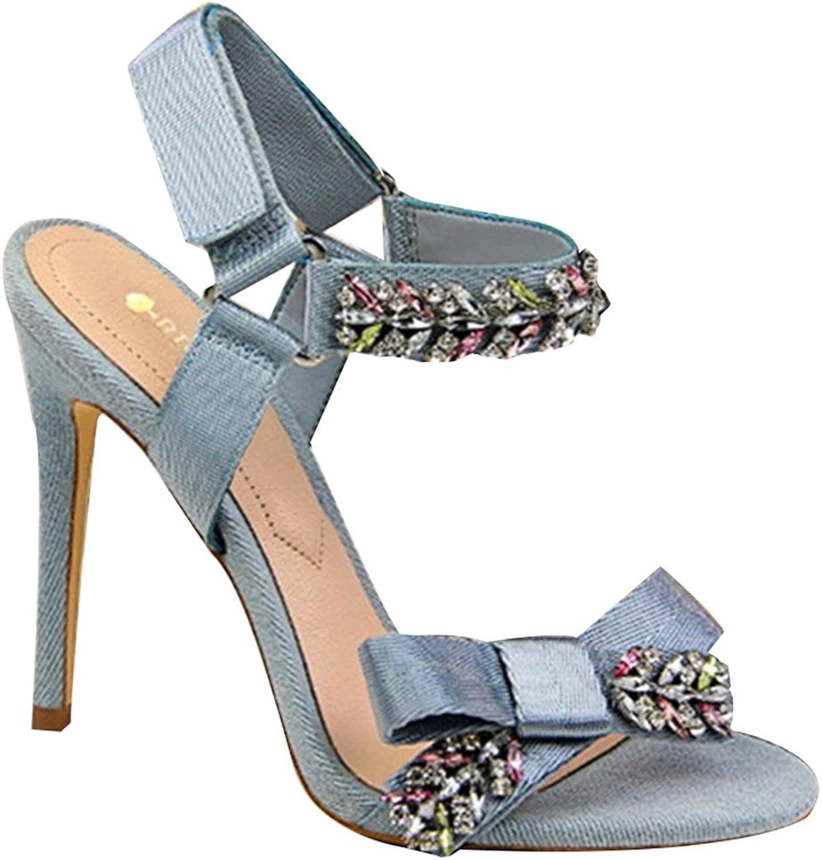 Women Pumps, Elegant Shiny Crystal Bowtie High Heels Solid Open Toe Sandal shoes