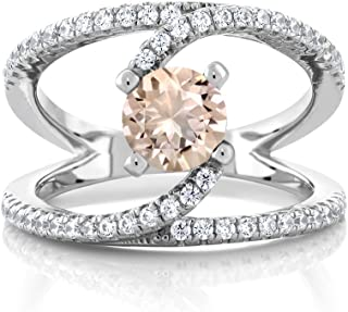1.18 Ct Round Peach Morganite 925 Sterling Silver Women's Swirl Ring (Available 5,6,7,8,9)