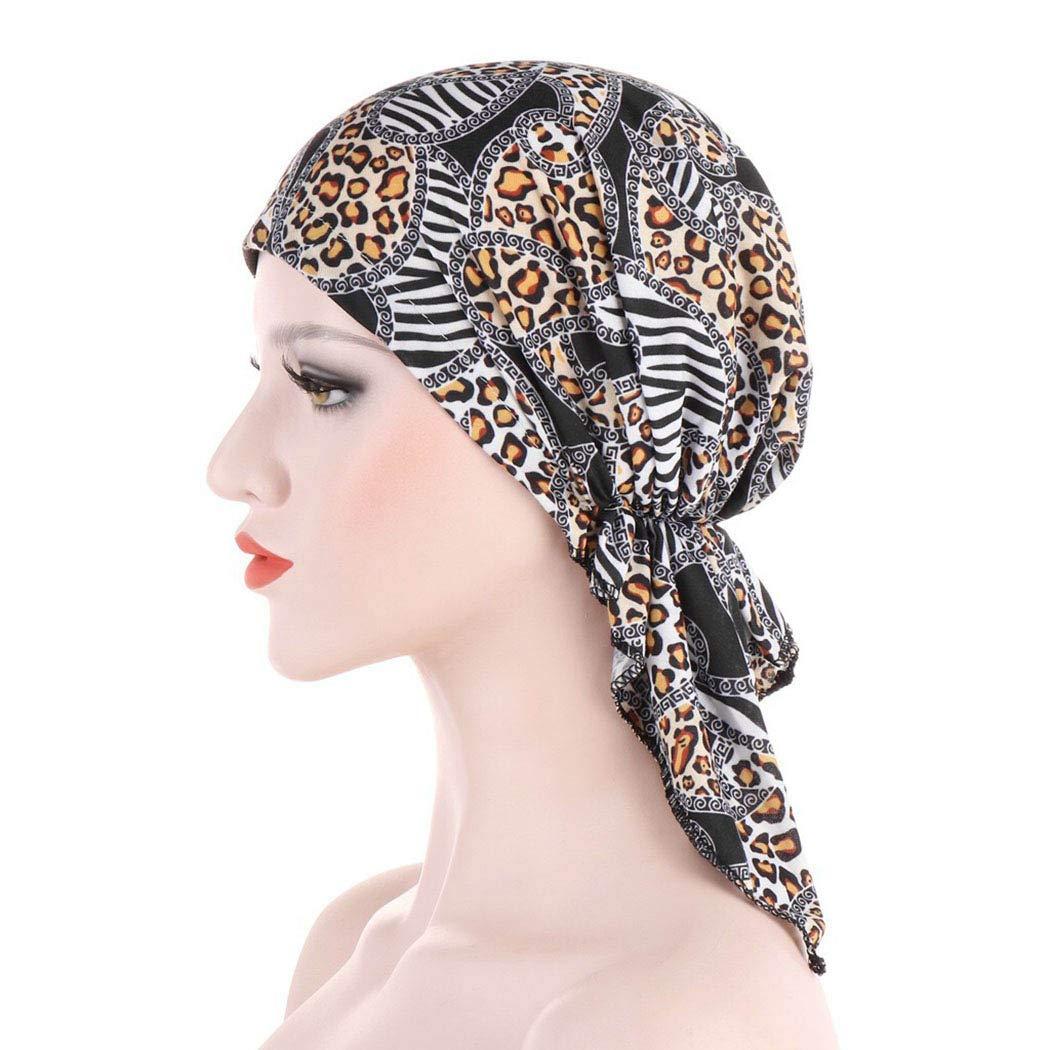 Woeoe Pre Tied Head Scarves Leopard Black Beanie Bandana Turban Elastic Sleeping Hair Loss Headwarps for Women and Men(2Pcs)