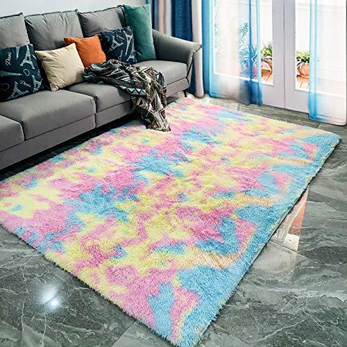 Aunt Susan Alfombras Salon Grandes - Pelo Largo Alfombra Habitación Dormitorio Lavables Comedor Moderna Vivero_Rainbow Colors_60X90Cm