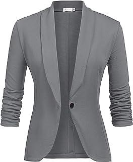 14c01ff889c89 Veste De Costume Femme Blazer à Manches 3/4 Slim Fit Veste de Tailleur  Bouton