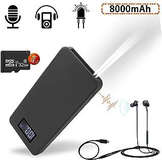 Grabadora de voz Digital Portátil 8000 mAh Excelente Duración de la Batería Hasta 35 días de Grabación de voz y Función de Reproducción de MP3 para ClaseReunionConferencias(Incluye Tarjeta de 32GB)