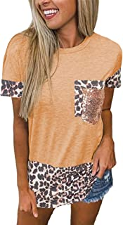 QitunC Women's Baseball T-Shirt Short Sleeve Leopard Color Block Tunic Crew Neck Casual Shirt Blouses Tee Top