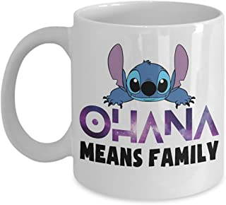 Ohana means family lilo and stitch blue galaxy Coffee Mug, Funny, Cup, Tea, Gift For Christmas, Father's day, Xmas, Dad, Anniversary, Mother's day, Papa, Heart