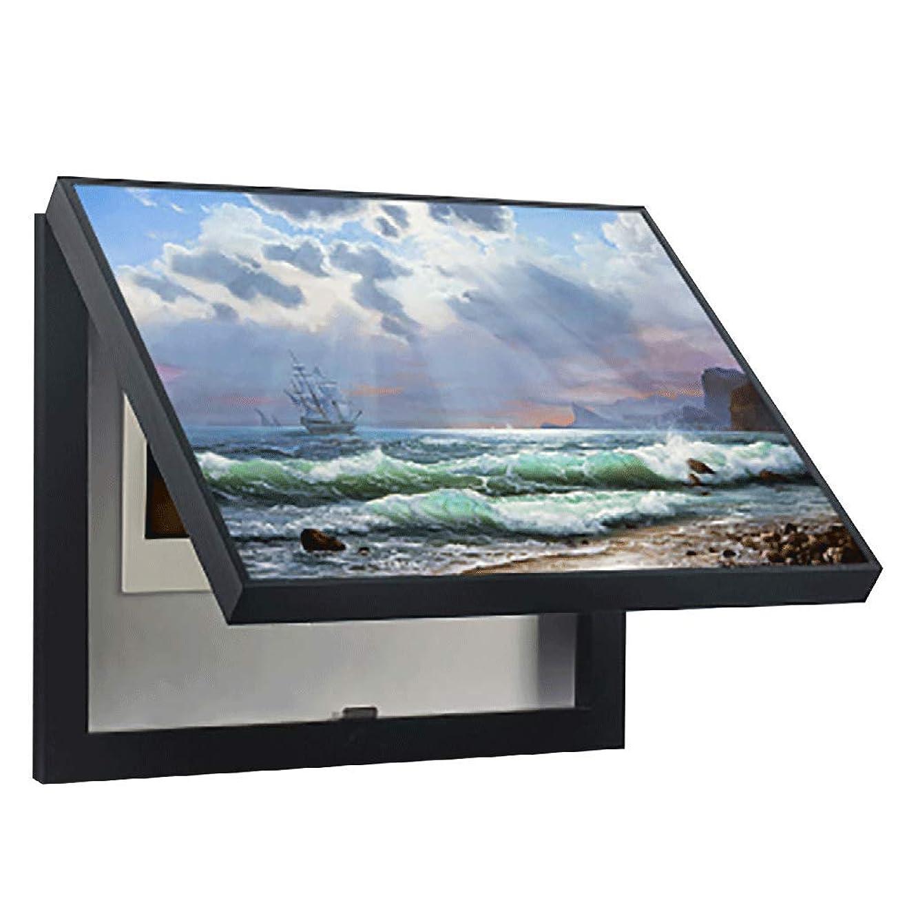 買い物に行く想定するサンドイッチQIQIDEDIAN 電気メーターボックス装飾絵画無料パンチングシンプルなモダンなリビングルームペインティングスイッチオクルージョンボックスパワーボックス (Color : Black, Size : (50*40cm 40*30cm)-Flip cover)