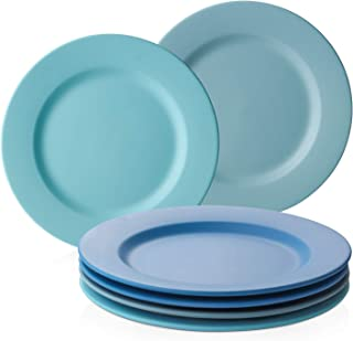 DOWAN Dinner Plates Ceramic, 10 Inch Salad Plates 6 Pieces, Round Dessert Plate, Appetizer Plates, Matte Ocean Blue