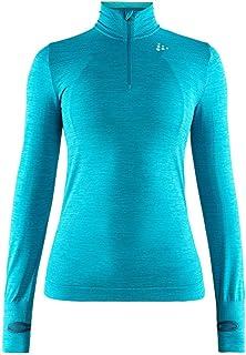Craft Sportswear Women's Fuseknit Comfort Zip Roundneck Long Sleeve Base Layer Wicking Shirt