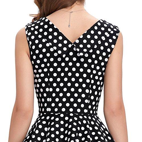 Frauen 50s Retro A-Linie Baumwolle Partykleid Mode 1950er M CL008901-11 - 7