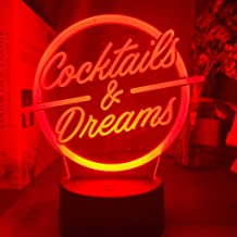 Office Table Accessories Led Night Light Sign Cocktails and Dreams Night Light for Bar Decoration Engraved Acrylic USB Des...
