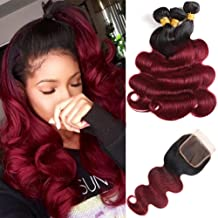 Feelgrace Hair Ombre Brazilian Body Wave Bundles with Closure 4x4 Free Part Two Tone Ombre Human Hair Weave 1B/99J Ombre Remy Hair Extension 14 16 18 with 12