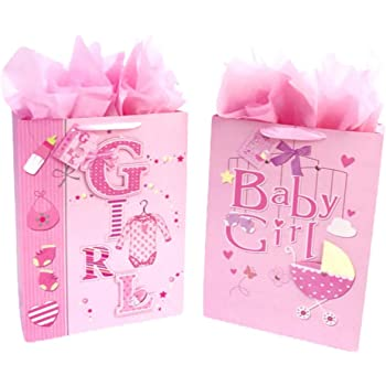 Large Birthday Gift Bags for Girls Bundle with Bright Tissue Paper 7 Items