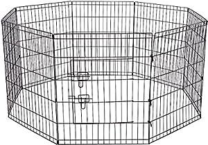 oxgord pour chien Animaux Parc Grand en fil métal pliable Clôture Yard d'Exercice 8panneaux clôture Cage Niche pop-up Tente portable–Noir–QUALITÉ Premium–2015nouvellement conçu
