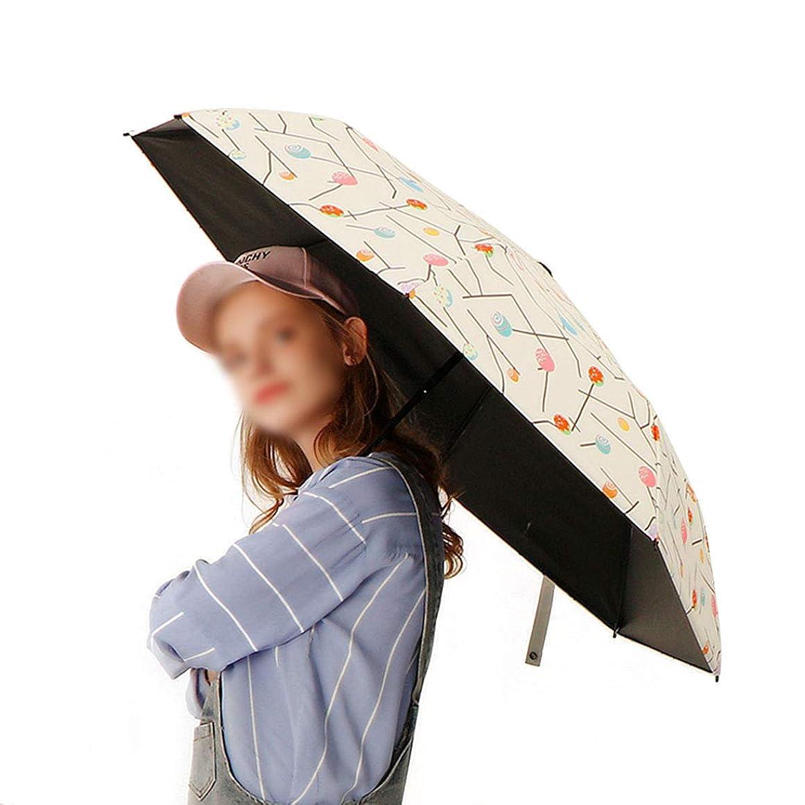 アライアンスステンレス火炎YESONEEP キャンディパターンの女性のコンパクト折りたたみ太陽雨傘防風折りたたみ傘 (色 : ホワイト)