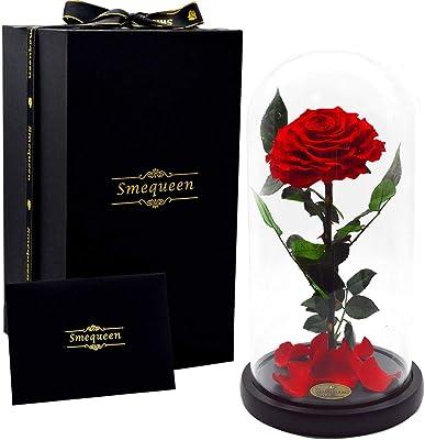 """誕生日ギフトレディースHand Made Preserved Rose 4"""" Never withered Roses Flower In 12.5インチガラスドーム、バレンタインの日のギフト記念日誕生日 レッド"""
