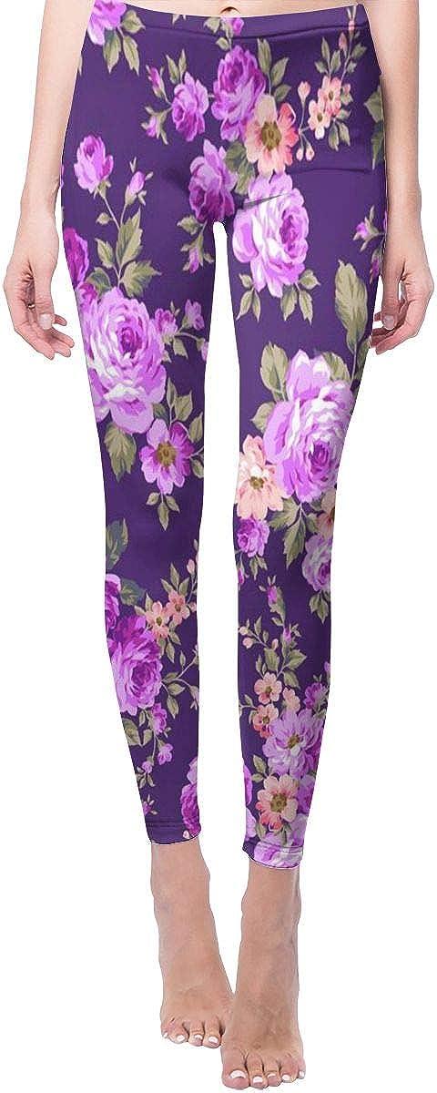 Cheap Women's Yoga Pants Purple Flower Leggings Waist High Kansas City Mall Workou