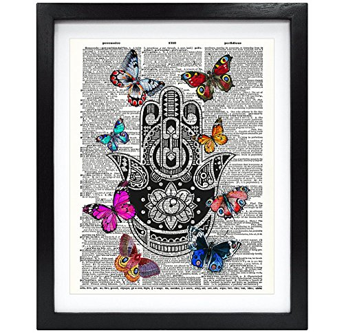Susie Arts 8X10 Unframed Hamsa Hand Buddha Palm with Butterflies Upcycled Vintage Dictionary Art Print Book Art Print Home Decor Wall Art V030
