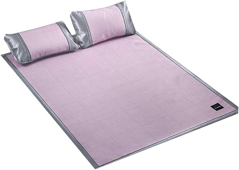 QB Ice Silk mat Bed Sheet Summer Sleeping Pad Cooling Summer Sleeping Mat and Pillow Shams Set Three-Piece Suit (color   Purple, Size   Queen)
