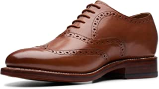حذاء رجالي من Bostonian مطبوع عليه Rhodes Brogue Oxford، جلد أسمر ضارب للصفرة، مقاس 13