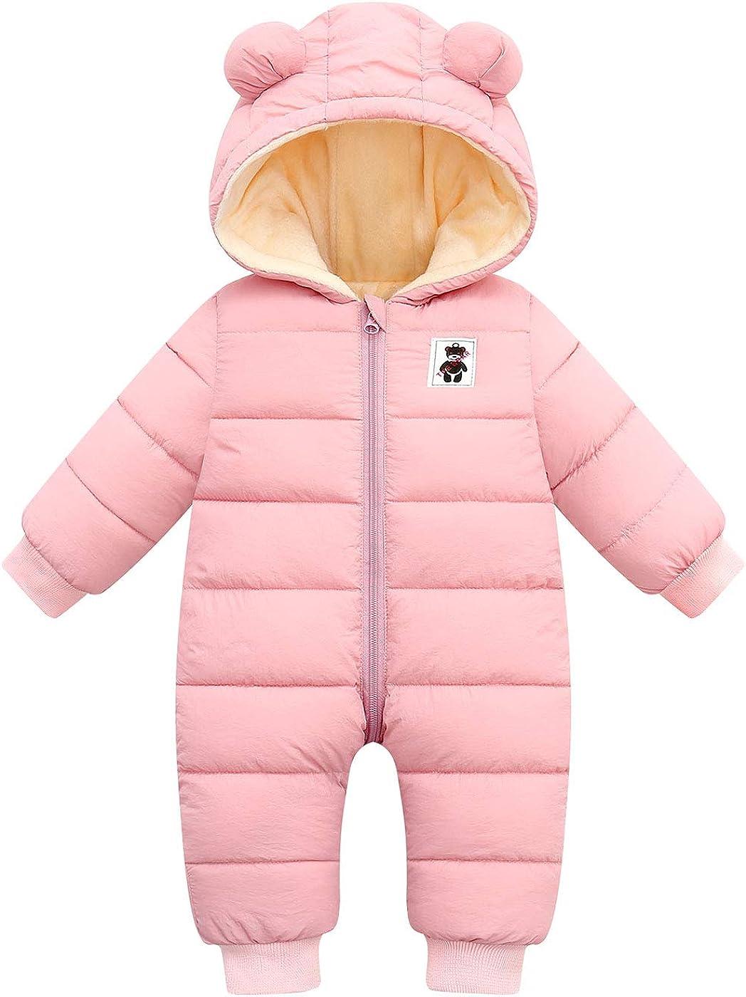 Happy Cherry Baby Girls Boys Warm Snowsuit Jumpsuit Down Coat Romper Padded Onesie