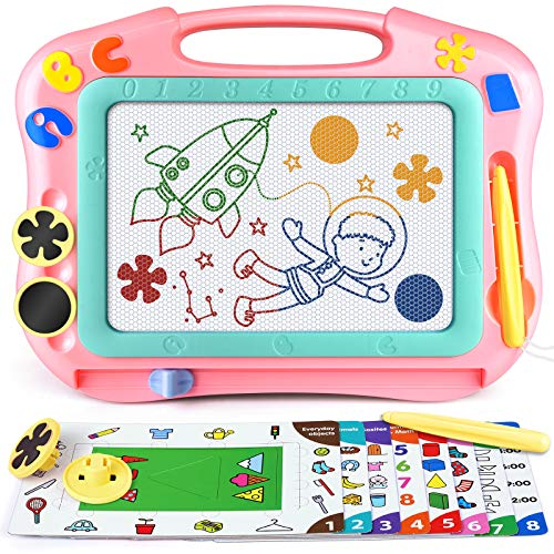 Magnetic Drawing Board for Toddlers, Travel Size Magna Doodle Board with Learning Cards & Stamps - Education Doodle Toys for Kids. Erasable Magnet Writing Sketch Pad for 2 3 4 5 Year Old Boy Girl