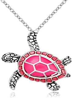 Health and Longevity Mutli-Colored Luminous Summer Sea Turtle Pendant Necklace 18''
