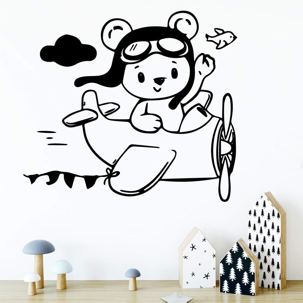 ganlanshu Dibujos Animados Oso avión Pared calcomanía Pared Arte Pegatina Mural habitación de los niños Arte decoración casa decoración 54cmX59cm: Amazon.es: Hogar