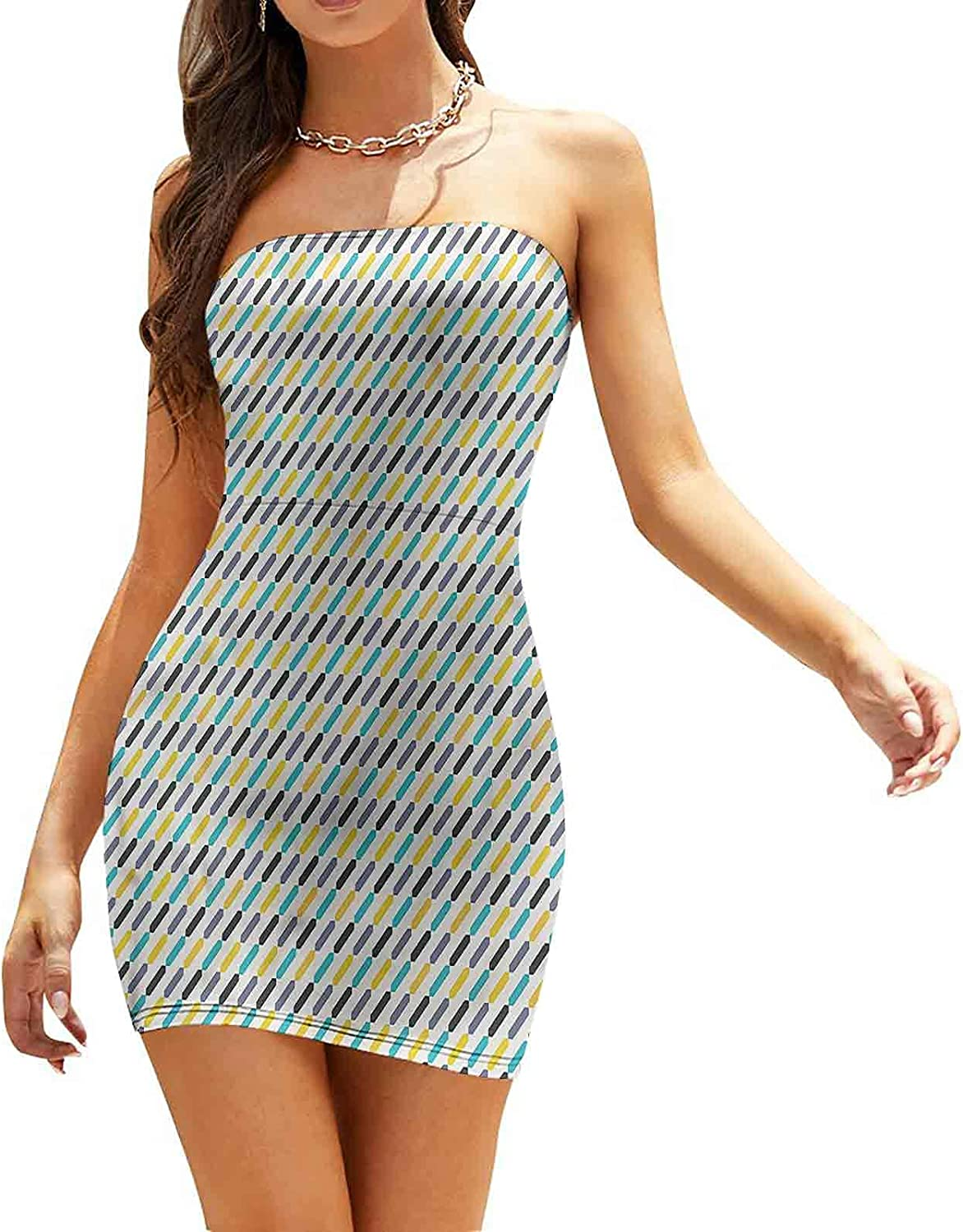 Women's Sleeveless Sexy Tube Top Dress Colorful Geometrical Ombre Dresses