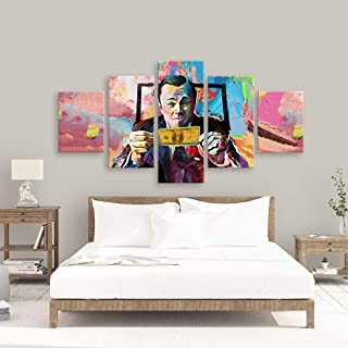 TYG Canvas Wall Art, Wall Painting Graffiti Movie The Wolf of Wall Street Prints on Canvas Giclee Artwork Modern Decor Pictures for Living Room/Bedroom Poster Stretched and Framed Ready to Hang 5PCS