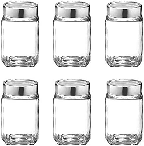TREO Glass Storage Jar 310 Ml 6 Pieces Transparent