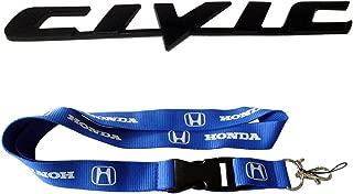 New 1pcs Honda Keychain Lanyard Badge Holder + Black Honda Civic Accessories Chromed Emblem Badge Decal Sticker