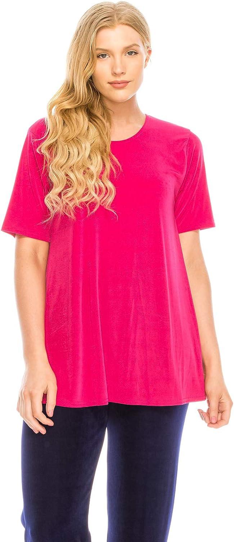 Jostar Women's Stretchy Vented Tunic Top Short Sleeve